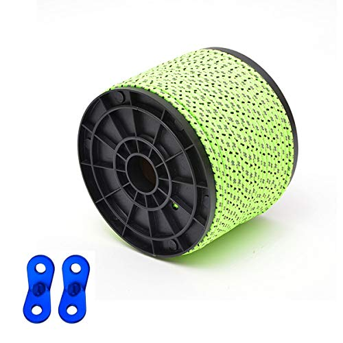 7E TRADING 4mm Diameter 164ft 50m Long Reflective Tent Rope Camping Cord with 10 PCS Red Tensioners for Camping Hiking Tool bundlingectReflective Green