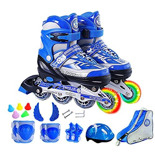 YLJXXY Niños Patines en Línea Ajustables, Adolescentes Patines de Ruedas con Bolsa de Almacenamiento, Equipo de Protección, Casco Zapatos de Patinaje para Chica Chico