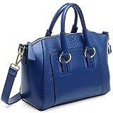 Mdsfe Bolso de Hombro para Mujer en imitación de Cuero Satchel Cross Body Tote Bag (Negro) - Azul