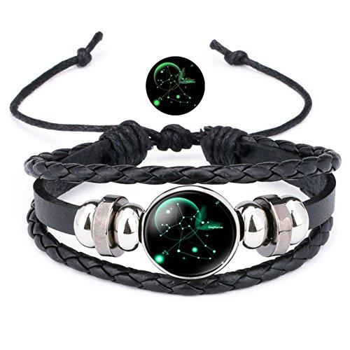 12 Sternzeichen Armband Lederarmband Frauen Herren Nachtleuchtender Anhänger Glas Cabochon Silber Armbänder Kette Verstellbare (Schütze)