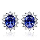 Bonlavie, orecchini in argento Sterling 925, indossati da Kate Middleton e della principessa Diana, 3,2ct, blu tanzanite