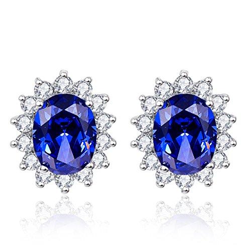 Bonlavie Women's Kate Middleton's Princess Diana 3.2ct Created Blue Tanzanite Stud Earrings 925 Sterling Silver