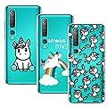 Young & Min Funda para Xiaomi Mi 10/Xiaomi Mi 10 Pro(No es para Xiaomi Mi Note 10 / Note 10 Pro), 3 Pack Transparente TPU Silicona Carcasa, Unicornio