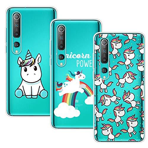 Young & Min Cover per Xiaomi Mi 10/Xiaomi Mi 10 PRO(Non per Xiaomi Mi Note 10 / Note 10 PRO), 3 Pack Trasparente Silicone TPU Case, Unicorno