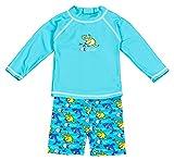 Landora®: Baby- / Kleinkinder-Badebekleidung langärmliges 2er Set türkis; in Größe 74/80