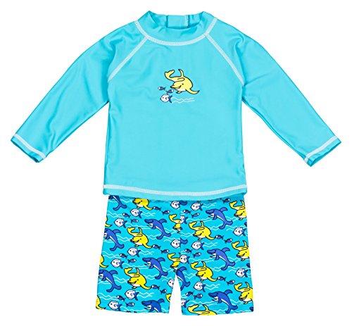Landora®: Baby- / Kleinkinder-Badebekleidung langärmliges 2er Set türkis; in Größe 86/92
