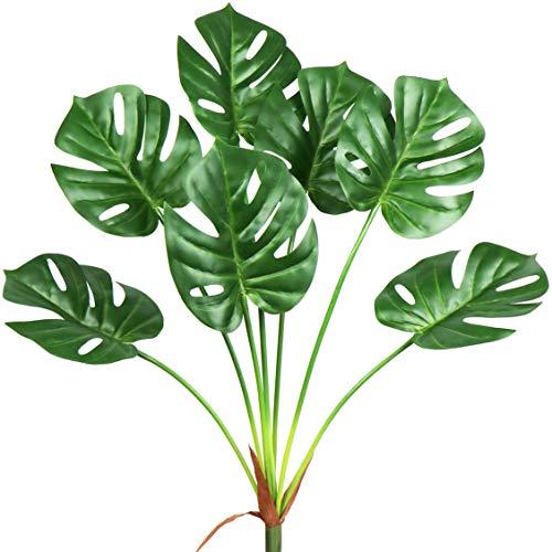 Plantas de palma artificiales, hojas tropicales de monstera artificiales, hojas de tortuga artificiales, hojas de mitación,...