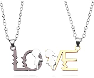 Necklace FYWEITM, Jewelry Pendant Creative Design Feeling Of Heartbeat Love Couple Letters Pendant Fashion Trendy Stainles...