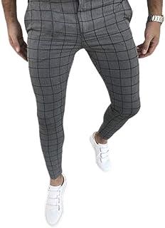 Usmley Pantalones de Ocio para Hombres Pantalones Pitillo de Cintura Alta a Cuadros Pantalones de Ocio para Hombres jóvenes