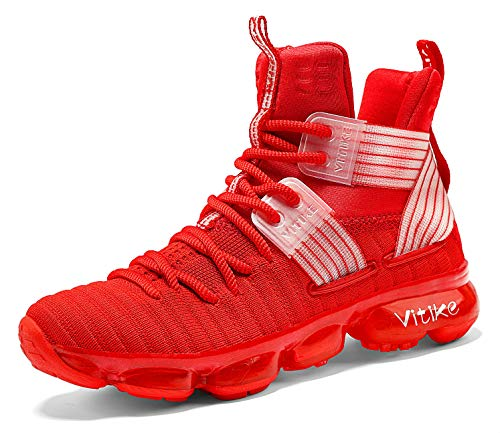 JMFCHI Kid's Basketball Shoes High-top Sports Shoes Sneakers Durable Lace-up Non-Slip Running Shoes Secure for Little Kids Big Kids and Boys Girls Red
