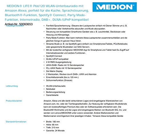MEDION P66120 WLAN Unterbauradio mit Amazon Alexa (Küchenradio, DAB+, Bluetooth, PLL UKW, Party Mode-Funktion, DLNA) weiß