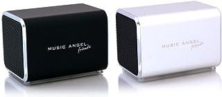 Music Angel Friendz Speaker Twin Pack Bundle for iPhone/iPad/iPod/Mp3/Laptop/Smartphone - Black/Silver