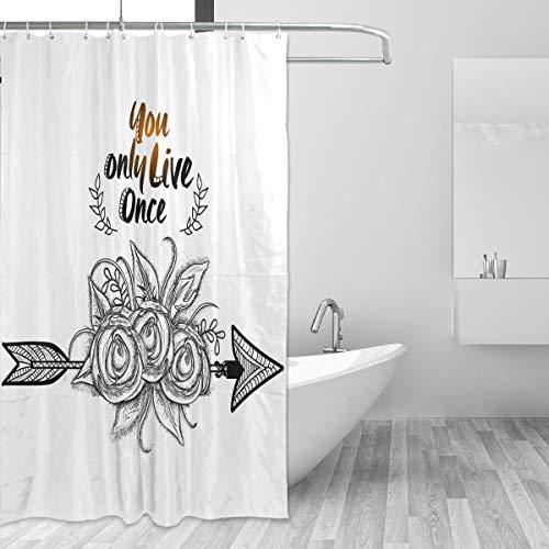 Rideau de douche inspirant, motif fleurs pour salle de bain, abat-jour avec crochets en tissu non toxique et inodore résistant à l'eau, grande maison 152 x 182 cm