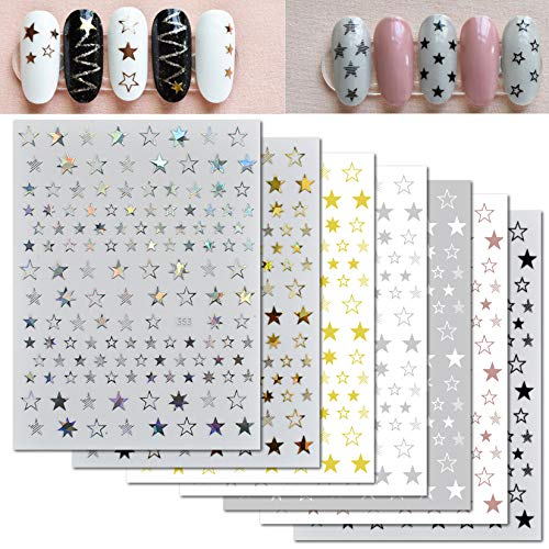 4th of July Independence Star Nail Art Stickers Laser 3D Self-Adhesive Nail Decals Nail Supplies Nail Art Design Luxury Nail Art Accessories for Woman Girl Manicure Nail Decoration Tips