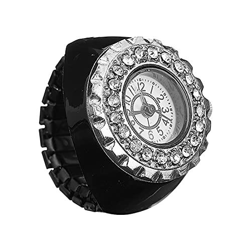 PRETYZOOM Decorative Ring Watch Diamond Finger Watch Women Fashion Ornament Watches ( Black )
