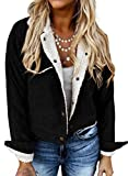 Blibea Women's Vintage Corduroy Sherpa Fleece Lined Jacket Thick Long Sleeve Buttoned Side Top X-Large Black