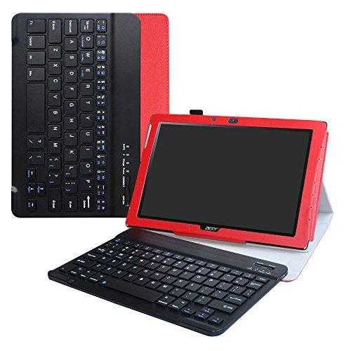 LiuShan Acer Iconia One 10 B3-A40 hülle, Abnehmbare Tastatur (QWERTY, englisches Layout) hülle mit Ständer für 10.1