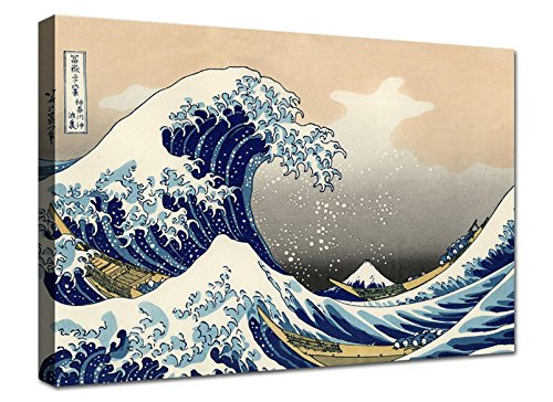 canvashop Quadri Moderni cm 100x70 Hokusai la Grande Onda di Kanagawa Stampa su Tela Canvas Quadro Moderno XXL Arredo Soggiorno Arte casa