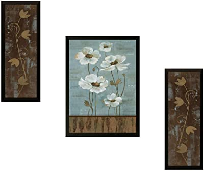 SAF Set of 3 Floral UV Digital Reprint 14 inch x 22 inch Painting (6491) SANFSM6491