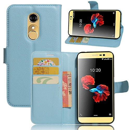 Ycloud Tasche für ZTE Blade A910 Hülle, PU Ledertasche Flip Cover Wallet Hülle Handyhülle mit Stand Function Credit Card Slots Bookstyle Purse Design blau