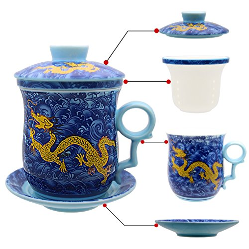 Hollihi Tasse en porcelaine avec couvercle, soucoupe et infuseur - Tasse à thé chinoise en porcelaine Jingdezhen pour thé en vrac ou café - Pour la maison ou le bureau