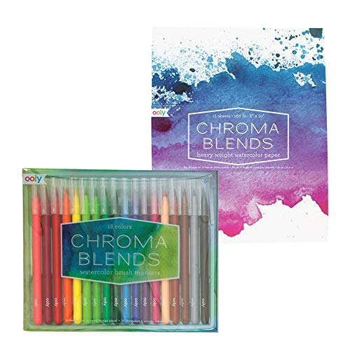 Ooly Happy Pack, Watercolor Brush Pens + Watercolor Paper Pad - Chroma Blends Creative Sketch Giftables Pack