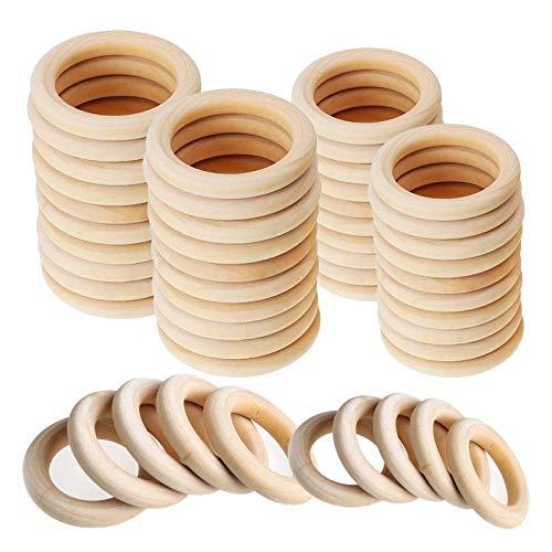 Anelli in legno per artigianato 50 pezzi Anelli in legno naturale 70mm 55mm Anello in legno liscio per gioielli fai-da-te Creazione di progetti artigianali Connettori per ciondoli per ginnastica