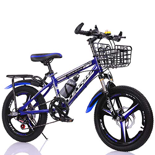LINGYUN 18-inch Boys Mountain Bike, Steel Children's Bike with Double Disc Brakes and Shock-Absorbing Front Fork, Suitable for 115-145cm