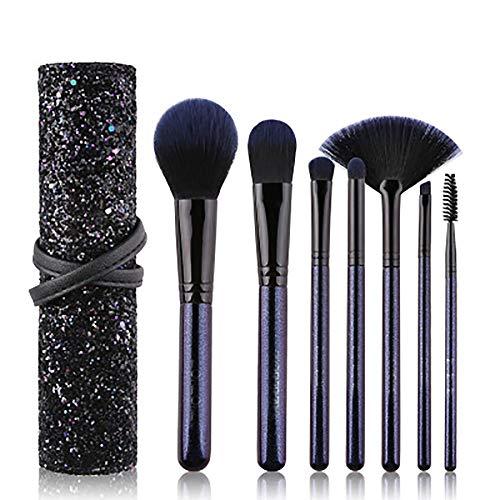 Maquillage Brosses 7PCS Débutant Starry Pinceau De Maquillage Set Sac Sequin Pinceau De Maquillage Professionnel Set Marque Synthétique Jusqu'à Pinceau,Noir