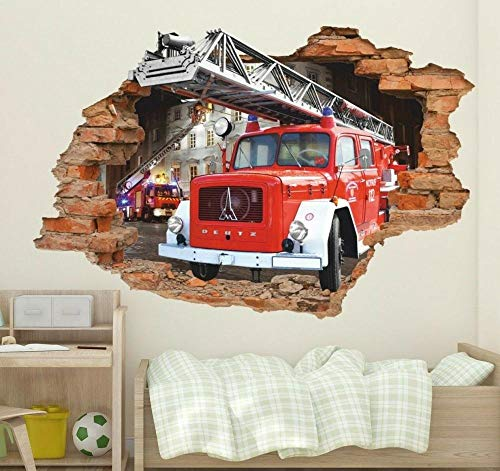 Pegatinas de pared 3D de camiones de bomberos, Pegatinas de pared de camiones de bomberos, Pegatinas de vinilo extraíbles