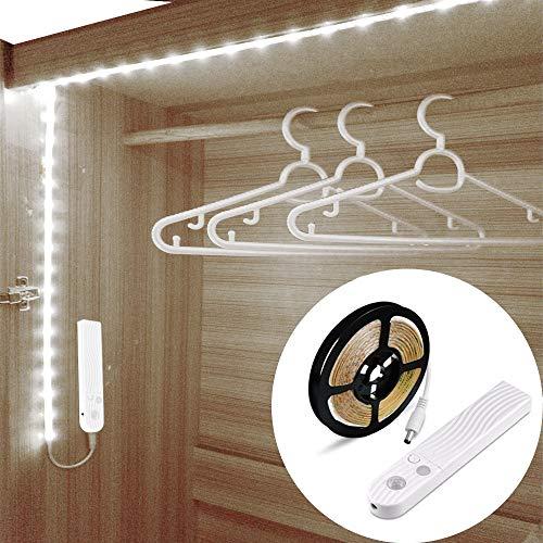 Tira luminosa LED con sensor de movimiento, luz LED para armario, batería cargada, luz nocturna LED para armario, escalera, pasillo, cocina, garaje