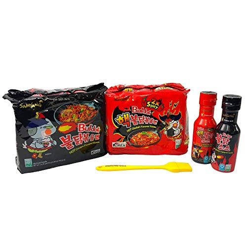 Munchie Box - Samyang Spicy Noodles Variety Pack | Top Two Flavors (Original and 2X Spicy) and Buldak Sauces - Bundled with Munchie Basting Brush