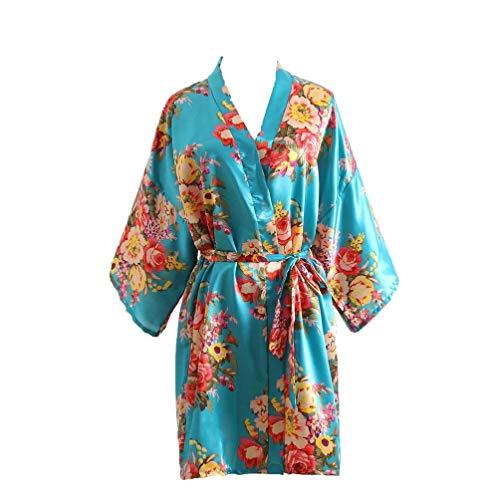 Junenoma dames ochtendjas zijde satijn kimono jurk bloemen patroon kimono badjas dames lange robe bloemen slaapjas meisje pajama party