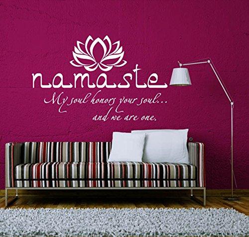 Wandtattoo Zitat Buddha Yoga Lotus Sprüche Namaste Om Wandaufkleber Spruch Vinyl Aufkleber Wanddeko Fototapete Wandsticker Dekoration für Zuhause Schlafzimmer Wandaufkleber Wand Sticker
