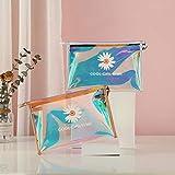 A/B Iridiscente Transparente para Viajar Bolsa de Maquillaje,Láser Neceser de Viaje para Maquillaje,Bolsa de cosméticos Little Daisy Laser, Neceser de Viaje, 2 Piezas