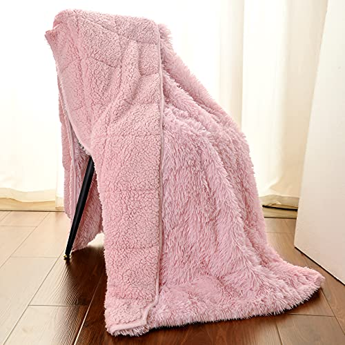 AROGAN Premium Fluffy Weighted Blanket 15lbs 48''x72'', Super Soft Faux Fur Sherpa Weighted Blankets, Warm and Cozy Blanket for Adult Kids, Pink