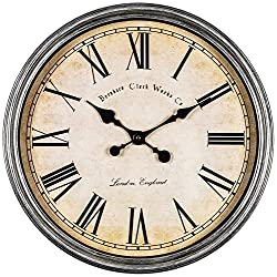 Bernhard Products Large Decorative Wall Clock 20 Inch Silent Non Ticking Battery Operated Quartz Vintage Stylish with Rustic Silver Rim for Home Living Room Dining Room Kitchen & Over Fireplace