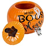 More Boos Please Pumpkin Orange 11 x 11 Glossy Ceramic Halloween Drink Dispenser