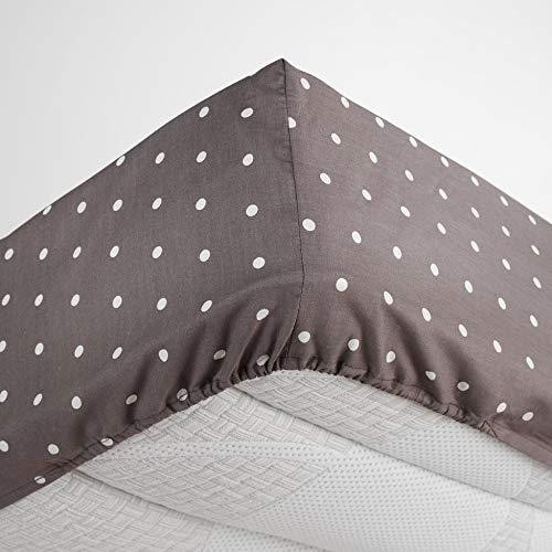 homea drap housse 2 personnes 160x200 cm pixa taupe/blanc