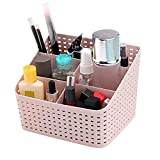 Maquillaje Cesta Plástico, Cesta de Almacenamiento, Organizador de Cosmético Versátil, Cesta Almacenamiento CosméTicos, Se Puede Utilizar en bBaños y Habitaciones (rosado)