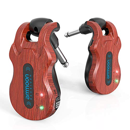 ammoon - Sistema per chitarra senza fili audio digitale, trasmettitore ricevitore batteria ricaricabile integrata gamma di trasmissione 91,5 m