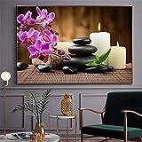 Impresión de arte de pared piedras de spa pintura Zen velas orquídea flor póster cuadro de pared para baño cocina decoración moderna 20x30 CM (sin marco)