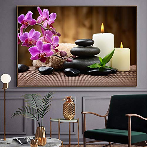 fdgdfgd Klassische frische Kunst drucken Spa Stein Zen Malerei Kerze Orchidee Blume Poster Badezimmer Küche Dekoration Wandbild