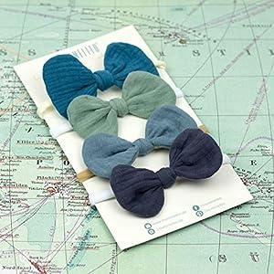 1 Babyschleife Haarband – mitternachtspetrol – weiches Baby Stirnband mit Schleife Musselin – Baby bow – petrol blau…