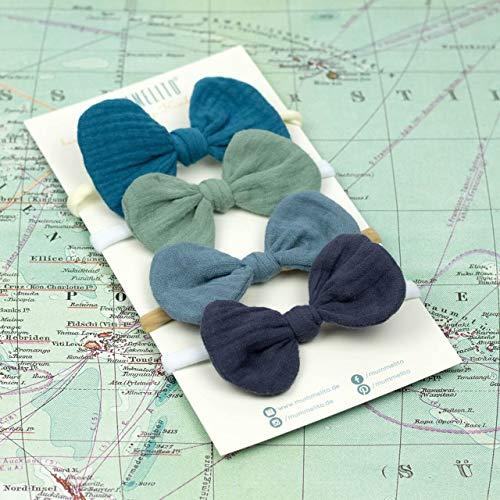 1 Babyschleife Haarband – mitternachtspetrol - weiches Baby Stirnband mit Schleife Musselin - Baby bow - petrol blau grün türkis
