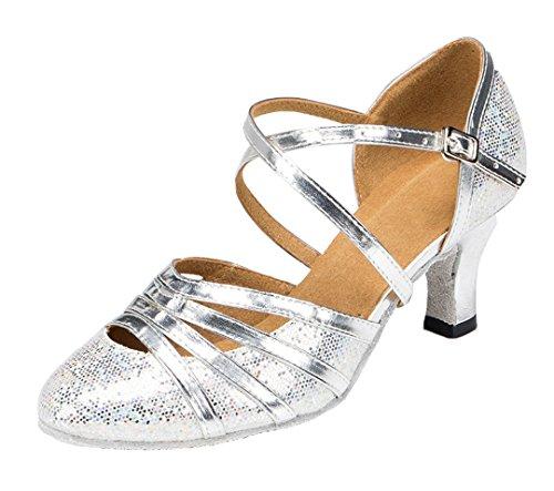 MGM-Joymod Damen Knöchelriemen Geschlossene Zehen Glitzer Synthetik Abendschuhe Hochzeit Tango Ballsaal Modern Lateinamerikanische Tanzschuhe, Silber - Flash Silver 6 cm Absatz - Größe: 36 EU