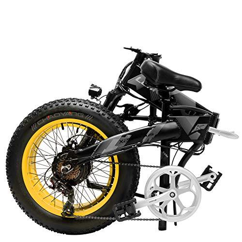 XTD Upgrade 48V 1000w Electric Mountain Bicycle 20 Inch Fat Tire E-Bike(Speed 40 Km/h) Cruiser Mens Sports Bike Full Suspension Adult MTB Dirtbike,yellow A
