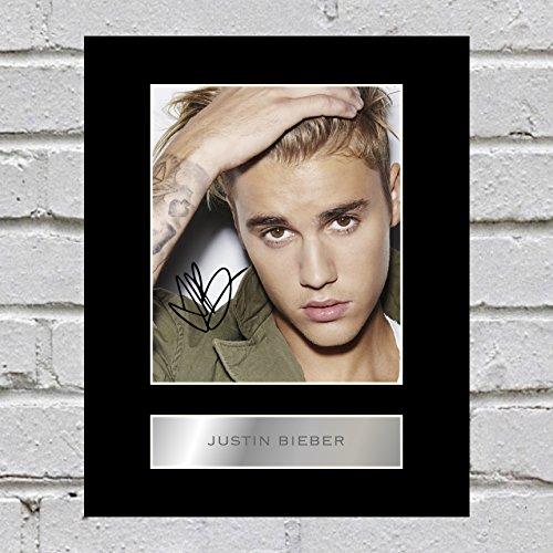 Bild mit Foto und Unterschrift von Justin Bieber