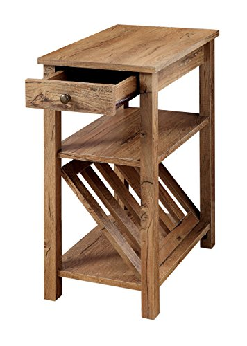 Furniture of America Erhart II 1-Drawer Side Table with Magazine Rack, Rustic Oak