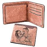 Billetera De Cuero Personalizada para Hombres Billetera De Hombre Personalizada Regalo De Cumpleaños para Novio(Marrón Claro Doble Cara)